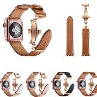 ingrosso guarda la chiusura lampo-Cinturino in vera pelle per iWatch Apple Watch 38mm 40mm 42mm 44mm Serie 4/3/2/1 Band Butterfly Clasp Cinturino da polso Cintura