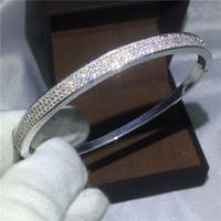 pulseira infinidade branco venda por atacado-Infinito Bridal bracelet Pave configuração Diamond White Gold Filled Pulseira de Noivado para as mulheres accessaries casamento Jóias