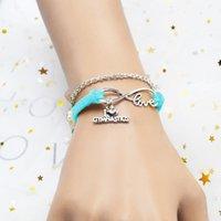 braceletes de mão mens venda por atacado-Preço de atacado de Couro Azul Clássico Camurça Cadeia Pulseiras Mão Charme Jóias Handmade Infinito Amor Eu Coração Ginástica Presente Para Mulheres Dos Homens