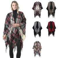 capes shawls wraps großhandel-Plaid Pashmina 6 Farben Fashion Winter Warm Plaid Ponchos Cape Übergroße Tücher und Wraps Cashmere Wraps 6pcs LJJO7148
