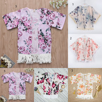Wholesale hood flowers for sale - Children Floral Coat INS girls tassel Outwear new fashion kids Flower print Clothing shawl colors C3636