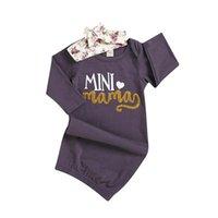 neugeborenes baby sleepwear winter groihandel-Neugeborenes Baby Mini Mama Floral Nachthemden Stirnband Nachtwäsche Schlafsack