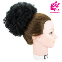 Wholesale hair wraps extension online - 8inch Afro Short Kinky Curly Wrap Drawstring Puff Ponytail Bun Extension Synthetic Hairpiece Hair Chignon Overhead Strands