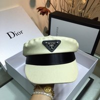 Wholesale hat logo design resale online - 2019 new fashion military cap Autumn winter Inverted triangle leather LOGO design berets hat Casual style womens beret hats