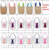 Wholesale bunny tails resale online - Easter Sequins Baskets Fashion bunny bucket D Rabbit Tail Printed Lucky Egg Basket Kids Candy Bags Toy Storage Bags Easter Gifts LXL1261B