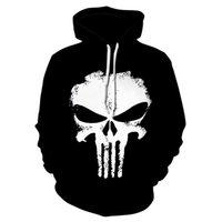 ingrosso donne punitore-Punisher Felpe Donna Uomo Felpe 3D Halloween Superhero Pullover novità Tuta moda incappucciato Streetwear Autunno Giacca casual