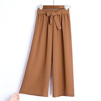 pantalon en mousseline de soie coréenne achat en gros de-Kenancy femmes pantalons à jambes larges Vintage pantalon taille élastique coton décontracté surdimensionné pantalon long coréen en mousseline de soie pantalon à jambes larges C19012101