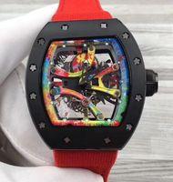 en iyi şeritler toptan satış-En iyi Marka Lüks Erkek Antika Mekanik Saatler Şeffaf Ajur Kırmızı Şerit Tuval Kayışı Otomatik Erkekler İş Saatı Dial