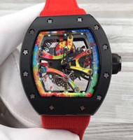 relógio da fita dos homens venda por atacado-Melhor Marca de luxo Mens Antique Relógios Mecânicos Transparent Openworked Dial Red Ribbon Canvas Strap automáticas Homens de Negócios Relógios de pulso