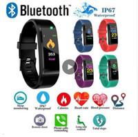 niños pulseras deportivas al por mayor-ID115 PLUS Pantalla a color Pulsera inteligente Podómetro deportivo Reloj Fitness Running Walking Tracker Podómetro de ritmo cardíaco Smart Band