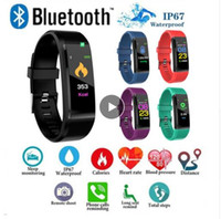 Wholesale new fitness bracelet online – New ID115 PLUS Color Screen Smart Bracelet Sports Pedometer Watch Fitness Running Walking Tracker Heart Rate Pedometer Smart Band