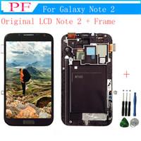 samsung galaxy note pantalla táctil al por mayor-Pantalla LCD 100% original para Samsung Galaxy Note 2 N7100 N7105 Pantalla táctil con marco Piezas de repuesto de montaje completo + Herramienta de reparación