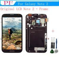 not lcd değiştirme toptan satış-Samsung Galaxy Not 2 Için 100% Orijinal LCD N7100 N7105 Çerçeve Tam Meclisi Ile LCD Ekran Dokunmatik Ekran Yedek Parçalar + Onarım Aracı