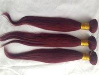 99j brasilianischer haareinschlagfaden großhandel-Brasilianisches glattes Haar Weben 1 Stück 99J Farbe Reine Haarverlängerung 100% Menschenhaar-Webart 10-30 Zoll Unverarbeiteter doppelter Schuss