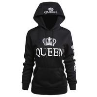 ingrosso abbigliamento regina-Abbigliamento donna Designer Coppia Felpe con cappuccio Casual con cappuccio QUEEN KING Felpe con stampa Pullover