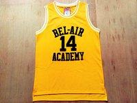 herrero amarillo al por mayor-El príncipe de Bel-Air # 14 Will Smith Academia Película Versión # 25 Carlton Bancos Negro Verde Baloncesto Jersey amarillo bordado cosido