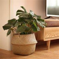 ingrosso balcone bonsai-2 pz / set rattan pianta vaso di fiori da pavimento vivaio vasi bonsai lavanderia portaoggetti cestino titolare organizzatore casa giardino balcone decor