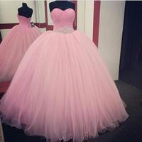 vestido rosa quinceanera imagem real venda por atacado-Real imagem rosa vestido de baile quinceanera vestidos com frisado cintura até o chão tule faixa com frisado vestidos de festa de baile
