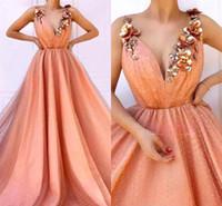 ingrosso petali di fiori rosa arancione-Abiti da sera arancioni con fiori 2019 A Line Spaghetti Strap Beads Perle Petalo Flora Lungo abito da spettacolo formale Vestito da promenade BC1603
