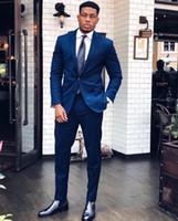 chaqueta formal azul para hombre al por mayor-Trajes Blazers azul de los hombres de ocasión formal Trajes para hombre de esmoquin para bodas Partes Prom Novio (chaqueta + pantalones)