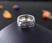 cajas de anillo de joyería para el envío al por mayor-Nueva llegada S925 anillo de banda de plata pura con diseño en forma de cabeza de león y logotipo para mujer y hombre joyería de boda regalo + caja envío gratis PS