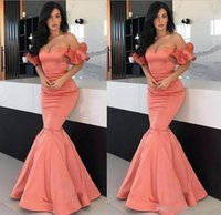 Wholesale blue ruffle evening dress short for sale - Group buy Coral Sexy Evening Dresses Off Shoulder Short Sleeves Mermaid Prom Gowns Back Zipper Floor Length Custom Made Formal Party Gowns