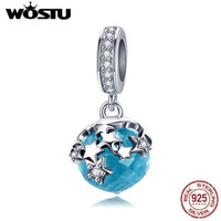 Wholesale starry sky necklace resale online - Wostu Starry Sky Sterling Silver Starlight Blue Night Dangles Charms Fit Bracelet Necklace Pendant Fashion Jewelry Ctc029 T190627