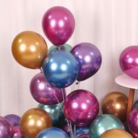 ingrosso set di decorazione di compleanno-Palloncini colorati di elio in lattice Palloncini metallizzati Vendita calda Matrimonio Compleanno Decorazione festa palloncini 12 pollici 100 pezzi / set