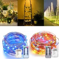 Wholesale warm fairy light silver resale online - Battery Operated Fairy String Lights Waterproof Mode Chirstmas Silver copper Wire Firefly Lights with Remote for Patio Indoor Party Garden