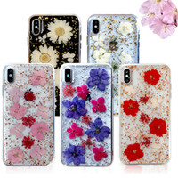 Wholesale flower plastic clear for sale - Group buy Handmade Real Dried Flowers Epoxy Phone Case For iPhone X XS MAX XR Plus Clear TPU PC Shockproof Cover