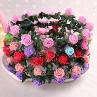 kafa taç aksesuarları toptan satış-Bohemian Çiçek Çelenk Kız Kafa Çiçek Taç Rattan Çelenk Festivali Düğün Gelin Çiçek Kafa Headdress Saç Aksesuarları GGA2313