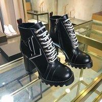 botas estilo estrela venda por atacado-Estrela de alta qualidade com alta de salto Martin botas estilo britânico outono e inverno Plataforma Waterproof couro grosso Tamanho Grande Black Boots
