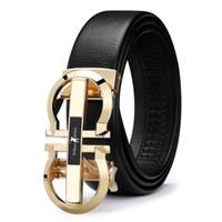 bracelet taille achat en gros de-2019 designer en cuir mens bracelet en cuir véritable boucle automatique ceinture ceinture or ceinture PL18335-36P