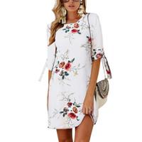 túnica de praia mais tamanho venda por atacado-Mulheres verão dress estilo boho impressão floral chiffon beach dress túnica vestido de verão solto mini party dress vestidos plus size 5xl