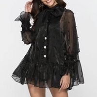 Wholesale korean black shirts resale online - Diamond Pearls Shirts Blouse Women Perspective Bowknot Flare Long Sleeve Tops Female Spring Korean Fashion
