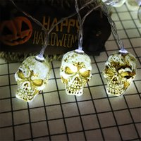Wholesale skull head lamps resale online - Halloween Evil Face Skull Head Lights String Lamp Holiday Party Decoration String Light Battery Operated Halloween Decorations JK1909