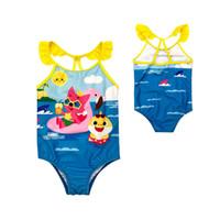 4t jungen badebekleidung großhandel-Sommer-Badeanzug-Karikatur scherzt Baby-Jungen 3-8yrs großes Kind-Baby-Haifisch-Badebekleidung einteilige Badebekleidung Badeanzugbabykinder, die Strand baden