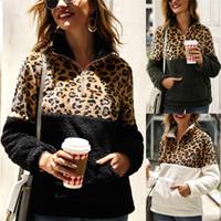 jersey de jersey esponjoso al por mayor-Suéter de lana de invierno para mujer Patchwork de leopardo de moda Suéteres gruesos mullidos Sudaderas con cremallera cálidas Abrigo de invierno para mujer Talla asiática S-XL