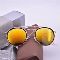 miroirs d'or achat en gros de-Nouvelle mode Marque Designer lunettes de soleil rond cercle de luxe en métal cadre d'or Steampunk Hommes Femmes miroir UV400 Lunettes De Soleil avec étui 1 pcs
