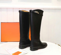 Wholesale ladies knee high motorcycle boots resale online - Kelly Buckles Women Genuine Leather Knee High Straight Boots Black Gray Brown Ladies Martin Boots Flats Heels Female Knight Boots
