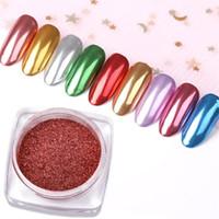 potes de gel de unhas uv venda por atacado-Ail Glitter 0.3g / pote Rose Gold Nail Art Glitters Espelho Em Pó Metálico Pigmento Manicure Chrome Dust Nails Dicas Gel UV Decoração New Des ...