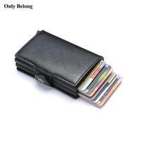 визитки металлические кошелек оптовых-Только Belong бренд Противоугонные RFID Металлические мужчины кредитный ID держатель визитки бумажник алюминиевая крышка для защиты кошелька Кожа