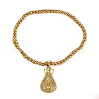 Wholesale indian gift bags for sale - Group buy Stainless steel Gold Bracelets for Women Dainty Bar Lucky bag Pendant Charm Bracelet Delicate Cute Friendship Gifts
