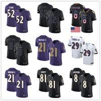 отметить футбол оптовых-Baltimore Ravens Пользовательские Джерси Ламар Джексон граф Томас Марк Ingram Hayden Hurst Рид Рэй Льюис Rush Vapor Limited Мужчины футбол Джерси