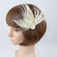 Wholesale tea for plants resale online - Hot New Design French style Feather Headband Fascinators for Women Tea Party Wedding Headband Feather Brooch Hair Clip