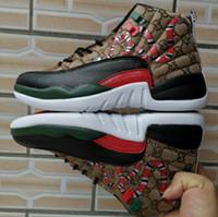 zapatos marrones estilo hombres al por mayor-12 GS Generación de serpiente Negro Marrón Rojo Hombres 2019 Zapatos de baloncesto Nuevo estilo 12s Hombre Snakeskin Multicolor Sport Designer Sneakers Con caja