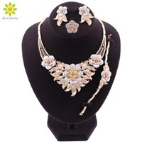 Wholesale bridal jewelery for sale - Group buy NEW Gold Plated Bridal Jewelry Sets For Women Flower Shaped Necklace Earrings Ring Bracelet Party Jewelery Birthday Gifts