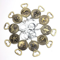 Wholesale free boy girl games resale online - Free DHL Game Of Throne keychain Bottle Opener Song of Ice And Fire Keychains Metal Stark Family Wolf Keyring Souvenirs Gift M033F