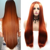 Wholesale synthetic hair for sale - Natural Hairline Middle Part Inch Synthetic Black Lace Front Wig Long Straight Hair Cosplay Wigs For Women Ladies Daily Wear