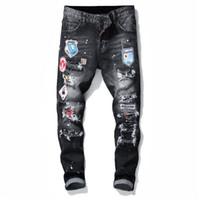 jeans griffés pour hommes achat en gros de-2019 Mens Badge déchire Stretch Jeans Noir Designer De Mode Slim Fit Lavé Moto Pantalon En Jean Pantalon Hanche HOP Pant Pantalon 10200